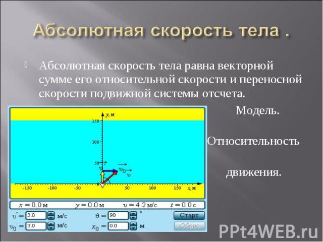 Абсолютная скорость тела .Абсолютная скорость тела равна векторной сумме его относительной скорости и переносной скорости подвижной системы отсчета. Модель. Относительность движения.