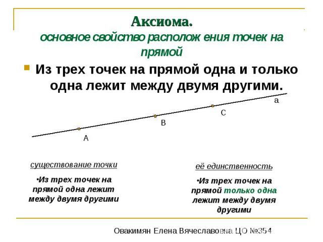 Аксиома.основное свойство расположения точек на прямойИз трех точек на прямой одна и только одна лежит между двумя другими.существование точкиИз трех точек на прямой одна лежит между двумя другимиеё единственностьИз трех точек на прямой только одна …