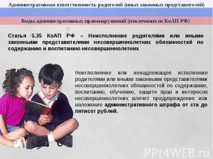 Административная ответственность родителей (иных законных представителей)Виды ад