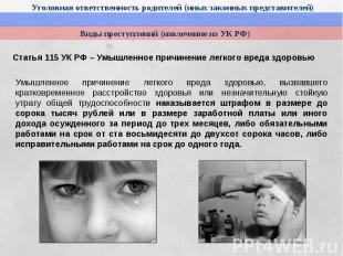 Статья 115 УК РФ – Умышленное причинение легкого вреда здоровьюУмышленное причин
