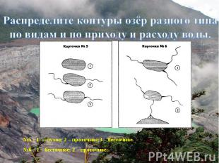 Распределите контуры озёр разного типа по видам и по приходу и расходу воды.