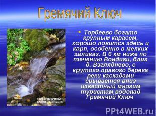 Гремячий КлючТорбеево богато крупным карасем, хорошо ловится здесь и карп, особе