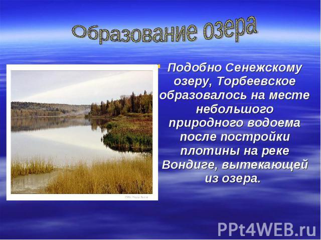 Образование озераПодобно Сенежскому озеру, Торбеевское образовалось на месте небольшого природного водоема после постройки плотины на реке Вондиге, вытекающей из озера.