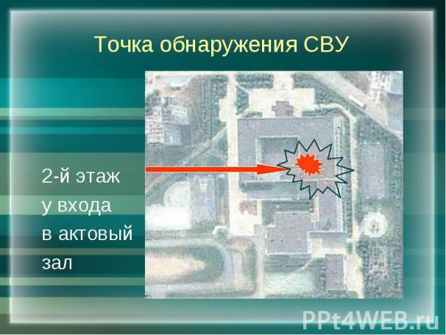 Точка обнаружения СВУ 2-й этажу входав актовыйзал