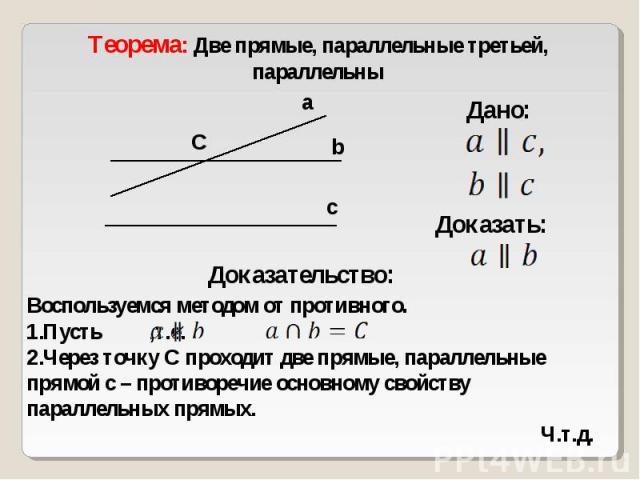 Теорема: Две прямые, параллельные третьей, параллельныВоспользуемся методом от противного.Пусть ,т.е. Через точку С проходит две прямые, параллельные прямой с – противоречие основному свойству параллельных прямых.Ч.т.д.