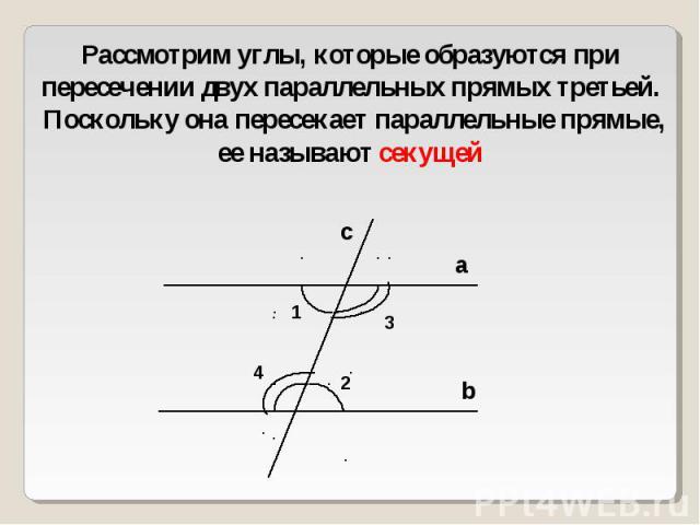 Рассмотрим углы, которые образуются при пересечении двух параллельных прямых третьей. Поскольку она пересекает параллельные прямые, ее называют секущей