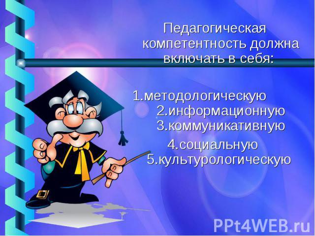 Педагогическая компетентность должна включать в себя: 1.методологическую 2.информационную 3.коммуникативную4.социальную 5.культурологическую