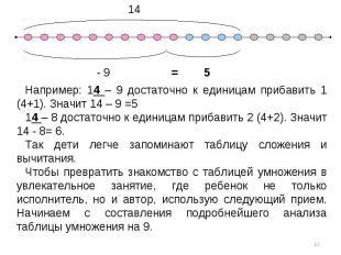 Например: 14 – 9 достаточно к единицам прибавить 1 (4+1). Значит 14 – 9 =514 – 8
