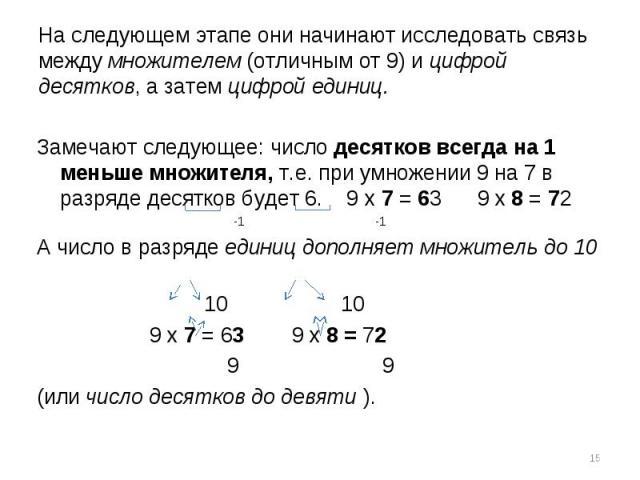 На следующем этапе они начинают исследовать связь между множителем (отличным от 9) и цифрой десятков, а затем цифрой единиц.Замечают следующее: число десятков всегда на 1 меньше множителя, т.е. при умножении 9 на 7 в разряде десятков будет 6. 9 х 7 …