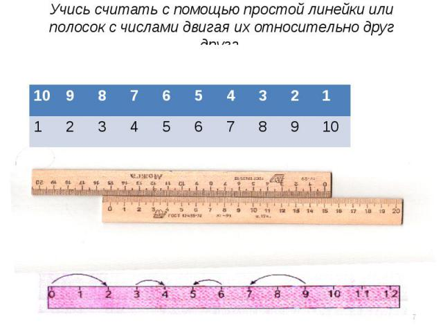 Учись считать с помощью простой линейки или полосок с числами двигая их относительно друг друга.