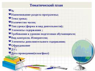 Тематический план №Наименование раздела программы;Тема урока;Количество часов;Ти