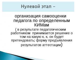 Нулевой этап -организация самооценки педагога по определенным КИМам( в результат