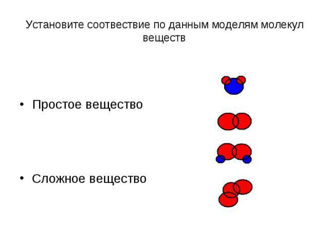 Установите соотвествие по данным моделям молекул веществПростое веществоСложное вещество