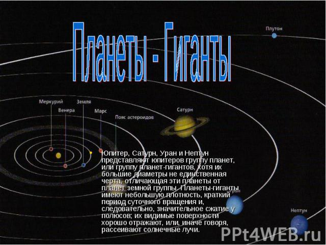Планеты - Гиганты Юпитер, Сатурн, Уран и Нептун представляют юпитеров группу планет, или группу планет-гигантов, хотя их большие диаметры не единственная черта, отличающая эти планеты от планет земной группы. Планеты-гиганты имеют небольшую плотност…