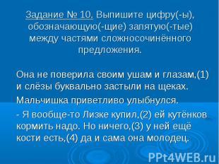 Задание № 10. Выпишите цифру(-ы), обозначающую(-щие) запятую(-тые) между частями