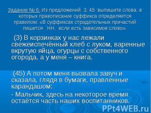 Задание № 6. Из предложений 3, 45 выпишите слова, в которых правописание суффикс