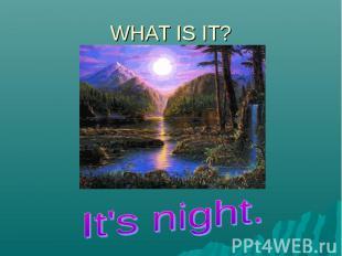 WHAT IS IT?It's night.