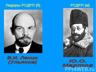 В.И. Ленин (Ульянов)Ю.О. Мартов