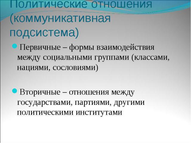 Политические отношения (коммуникативная подсистема)Первичные – формы взаимодействия между социальными группами (классами, нациями, сословиями)Вторичные – отношения между государствами, партиями, другими политическими институтами
