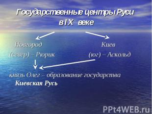 Государственные центры Руси в IX веке Новгород Киев(север) – Рюрик (юг) – Асколь