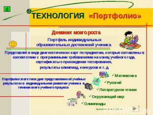ТЕХНОЛОГИЯ «Портфолио» Портфель индивидуальных образовательных достижений ученик