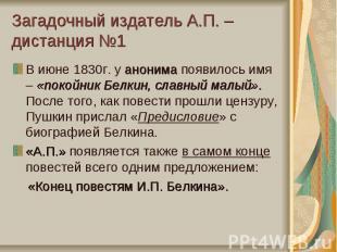 Загадочный издатель А.П. – дистанция №1В июне 1830г. у анонима появилось имя – «