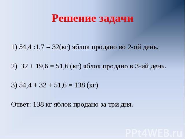 Решение задачи 1) 54,4 :1,7 = 32(кг) яблок продано во 2-ой день.2) 32 + 19,6 = 51,6 (кг) яблок продано в 3-ий день.3) 54,4 + 32 + 51,6 = 138 (кг)Ответ: 138 кг яблок продано за три дня.