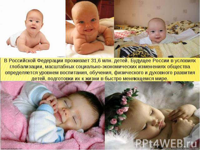 В Российской Федерации проживает 31,6 млн. детей. Будущее России в условиях глобализации, масштабных социально-экономических изменениях общества определяется уровнем воспитания, обучения, физического и духовного развития детей, подготовки их к жизни…