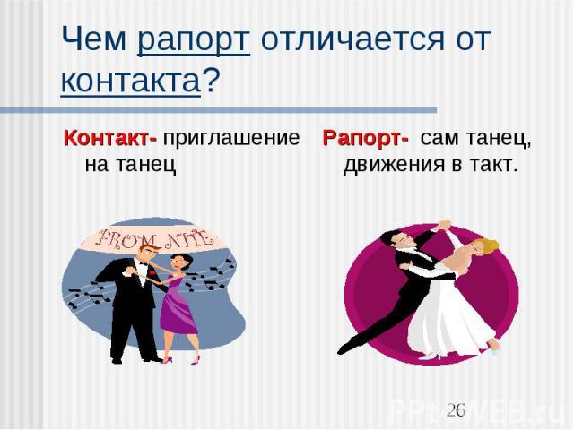 Чем рапорт отличается от контакта?Контакт- приглашение на танецРапорт- сам танец, движения в такт.