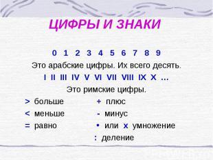 ЦИФРЫ И ЗНАКИ0 1 2 3 4 5 6 7 8 9Это арабские цифры. Их всего десять.I II III IV