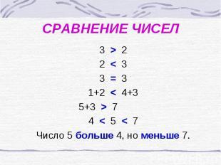 СРАВНЕНИЕ ЧИСЕЛ 3 > 2 2 < 3 3 = 3 1+2 < 4+3 5+3 > 7 4 < 5 < 7 Число 5 больше 4,