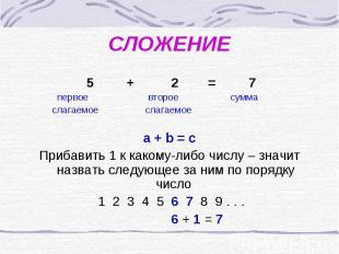 СЛОЖЕНИЕ 5 + 2 = 7 первое второе сумма слагаемое слагаемое a + b = cПрибавить 1