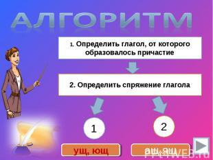 Алгоритм 1. Определить глагол, от которого образовалось причастие2. Определить с