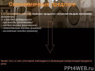 Синонимичные предлоги1 1) Синонимический ряд образуют предлоги с изъяснительным