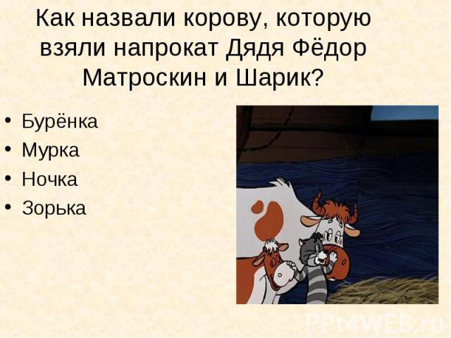 Как назвали корову, которую взяли напрокат Дядя Фёдор Матроскин и Шарик? БурёнкаМуркаНочкаЗорька