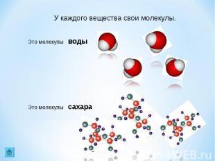 У каждого вещества свои молекулы. Это молекулы воды Это молекулы сахара