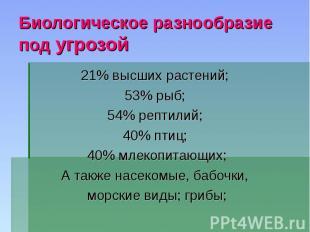 Биологическое разнообразие под угрозой21% высших растений;53% рыб;54% рептилий;4