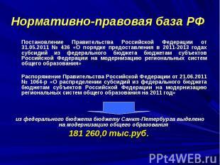 Нормативно-правовая база РФ Постановление Правительства Российской Федерации от