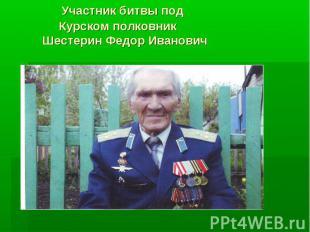 Участник битвы под Курском полковник Шестерин Федор Иванович