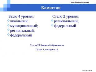 Комиссии Было 4 уровня:школьный;муниципальный;региональный;федеральный Стало 2 у
