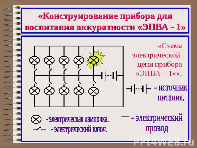 «Конструирование прибора для воспитания аккуратности «ЭПВА - 1»«Схема электрической цепи прибора «ЭПВА – 1»».