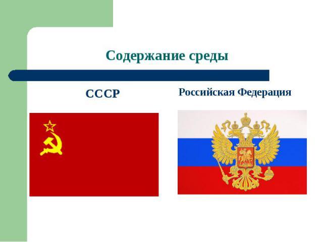 Содержание среды СССРРоссийская Федерация