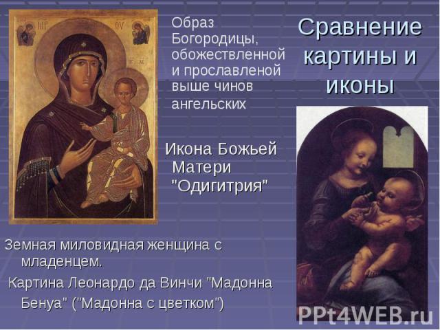 Образ Богородицы, обожествленной и прославленой выше чинов ангельских Икона Божьей Матери