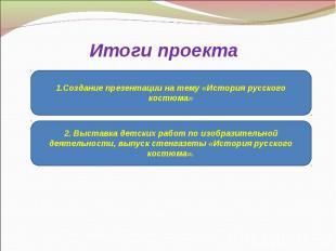 Итоги проекта1.Создание презентации на тему «История русского костюма»2. Выставк