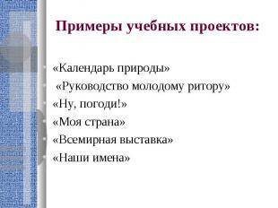 Примеры учебных проектов: «Календарь природы» «Руководство молодому ритору»«Ну,