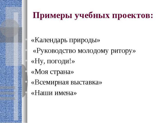 Примеры учебных проектов: «Календарь природы» «Руководство молодому ритору»«Ну, погоди!»«Моя страна»«Всемирная выставка»«Наши имена»