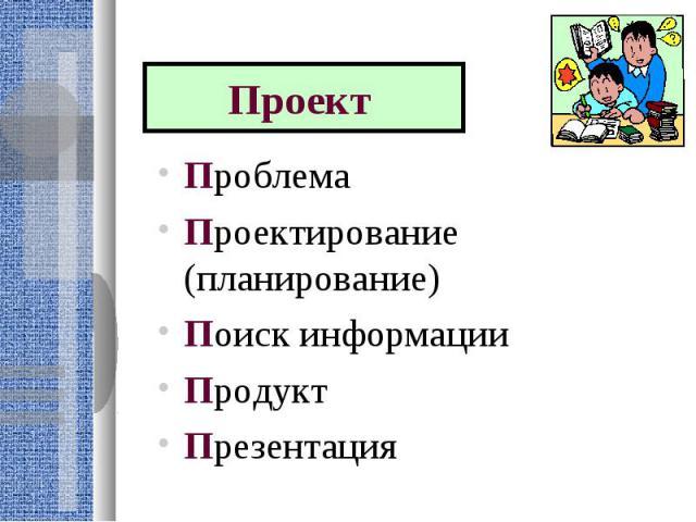 Проект Проблема Проектирование (планирование) Поиск информации ПродуктПрезентация