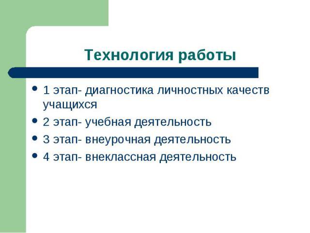 Технология работы1 этап- диагностика личностных качеств учащихся 2 этап- учебная деятельность3 этап- внеурочная деятельность 4 этап- внеклассная деятельность