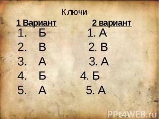Ключи1 Вариант 2 вариант Б 1. А В 2. В А 3. А Б 4. Б А 5. А