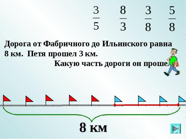 Дорога от Фабричного до Ильинского равна 8 км. Петя прошел 3 км. Какую часть дороги он прошел?